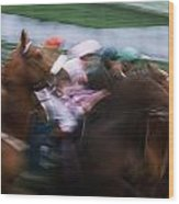 Horse Racing Horses Breaking From The Wood Print