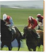 Horse Racing, Ireland Jockeys Racing Wood Print