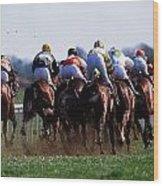 Horse Racing Rear View Of Horses Racing Wood Print