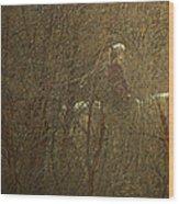 Horseback In The Garden Wood Print by Lenore Senior