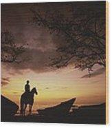 Horseback Rider Silhouetted On A Beach Wood Print
