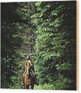 Horseback Riding On An Emerald Lake Wood Print
