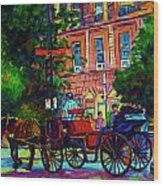 Horsedrawn Carriage Wood Print