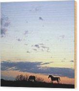 Horses And Sky Wood Print