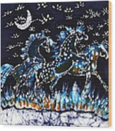 Horses Frolic On A Starlit Night Wood Print by Carol Law Conklin