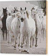 Horses Galloping Wood Print