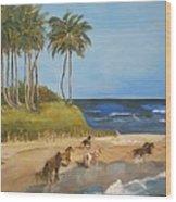Horses On The Beach Wood Print