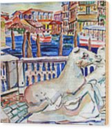 Horses On The Grand Canal Of Venice Wood Print