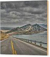 Horsetooth Reservoir Stormy Skies Hdr Wood Print by Aaron Burrows