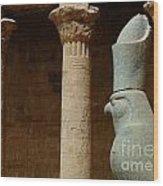 Horus Temple Of Edfu Egypt Wood Print by Bob Christopher