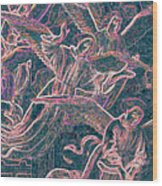Host Of Angels Pink Wood Print