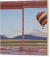 Hot Air Balloon And Longs Peak Red Rustic Picture Window View Wood Print