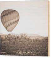 Hot Air Balloon On The Arizona Sonoran Desert In Bw  Wood Print