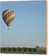 Hot Air Balloon Over Vineyard Wood Print