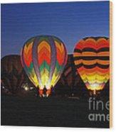 Hot Air Balloons At Dusk Wood Print