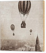 Hot Air Balloons Over 1949 New York City Wood Print