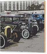 Hot Rod Row Wood Print