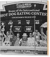 Hotdog Eating Contest Time In Black And White Wood Print