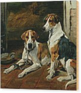 Hounds In A Stable Interior Wood Print