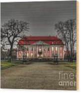 House Illuminated And With Trees Branches Wood Print