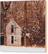 House In The Woods Wood Print by Cheryl Helms