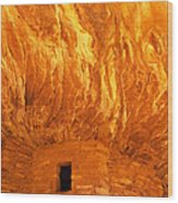 House On Fire Ruin Portrait 3 Wood Print by Bob and Nancy Kendrick