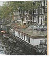 Houseboats Of Rotterdam Wood Print