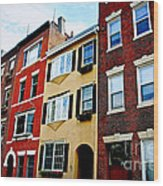 Houses In Boston Wood Print
