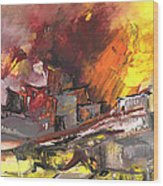 Houses In Fire Wood Print