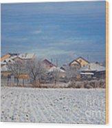 Houses In Winter Wood Print