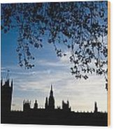 Houses Of Parliament Silhouette Wood Print