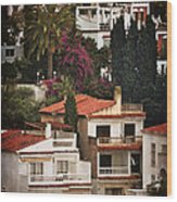 Houses On The Hill Nerja Wood Print by Mary Machare