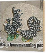 Housewarming Invitation - Black And White Chickens Figurines Wood Print