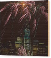 Hudson River Fireworks X Wood Print