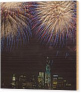 Hudson River Fireworks Xi Wood Print