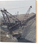 Huge Strip Mining Machinery Consuming Wood Print