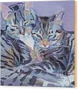 Hugs Purrs And Stripes Wood Print by Kimberly Santini