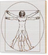 Human Body By Da Vinci Wood Print