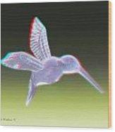 Hummingbird - Use Red-cyan 3d Glasses Wood Print