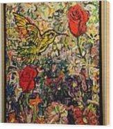 Hummingbird And Roses Wood Print