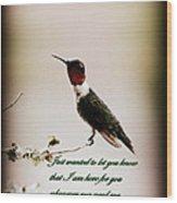 Hummingbird - Cards Wood Print