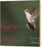Hummingbird Holiday Card Wood Print