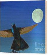Hummingbird Moon II Wood Print by Al Bourassa
