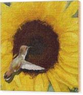 Hummingbird On Sunflower Wood Print