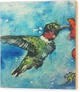Hummingbird Sips Wood Print