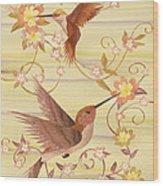 Hummingbirds - Wood Art Wood Print by Vincent Doan