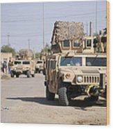 Humvees Conduct Security Wood Print
