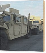 Humvees Sit On The Pier At Morehead Wood Print