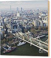 Hungerford Bridge Seen From London Eye Wood Print