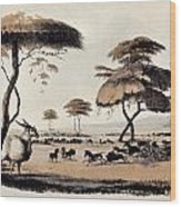 Hunting At Meritsane, Wood Print